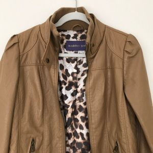 Tan Faux Leather Jacket Madden Girl Medium
